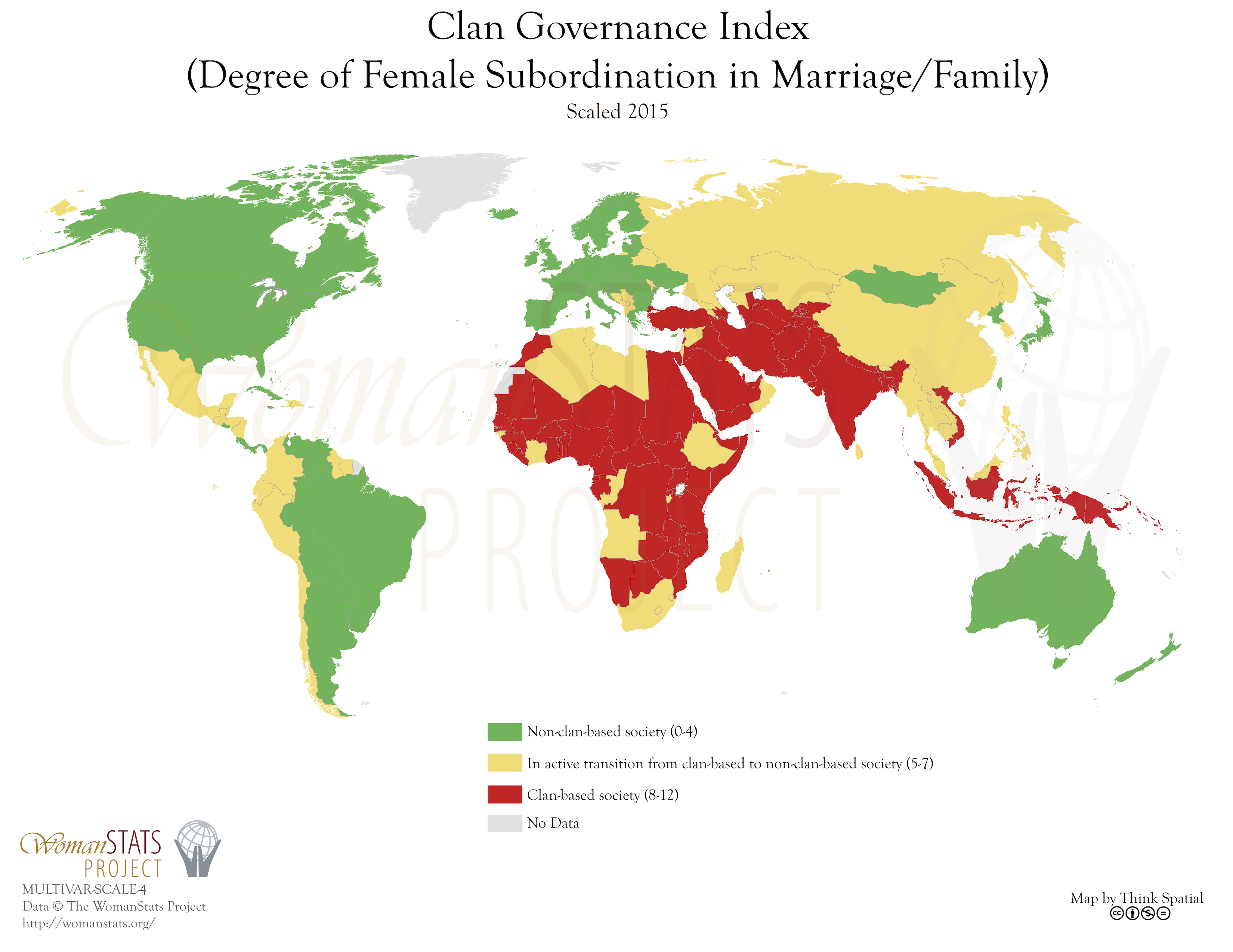WomanStats Maps - 4 piece world map